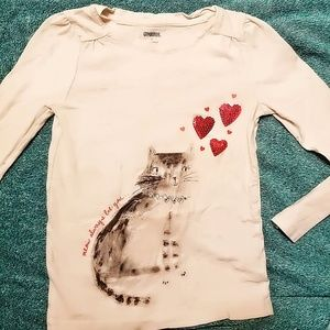 Other - Girls long sleeve Valentine's day shirt with cat